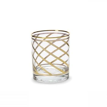 Elegante Gold Swirl Double Old Fashioned Glass