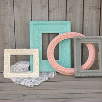 Photo Frames, Shabby Chic, Set, Upcycled, Mint Green, Coral, Grey, Ivory, Hand Painted, Wedding Decor, with Glass