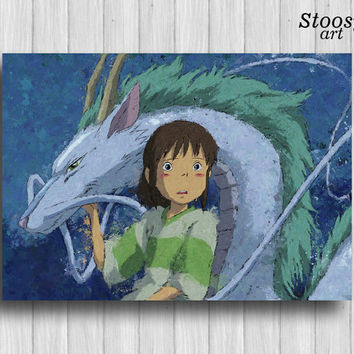spirited away print dragon haku art anime decor