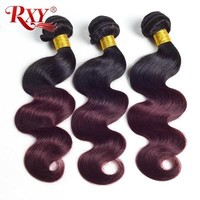 Rxy Ombre Brazilian Hair Weave Bundles Body Wave 1b Burgundy Two Tone Human Hair Bundles Non Remy Hair Extensions Weaving