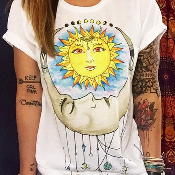 SUN AND MOON Graphic Tees Women T-shirt