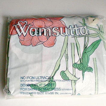 Wamsutta Double Flat Sheet Water Flower in Original Package  Vintage New Old Stock Jay Yang Floral