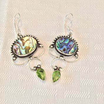 Abalone and peridot sterling silver earrings