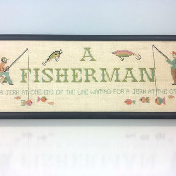 Vintage Hand Embroidered Fisherman Sign, Mid-Century Framed Wall Art, Funny Fisherman, Nautical Theme, Vintage Home Decor, Father's Day Gift
