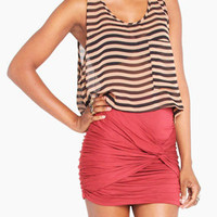 Striped Cropped Pocket Tank Blouse in Brown
