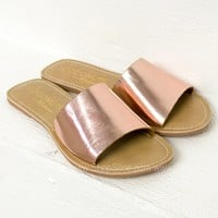 Cabana Leather Slip On Sandal | Rose Gold