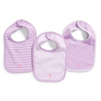 Infant Girl's Ralph Lauren Cotton Bibs - Purple (3-Pack)