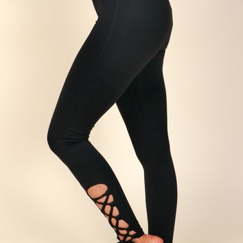 Twist Around Tie Up Leggings Black