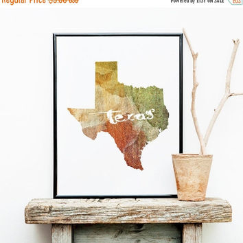 Texas Printable, Texas Wall Art, Texas State Map, Texas Poster, Printable  Art