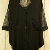 Sheer Black Lace Blouse with Crop Sleeves&Draped Pockets