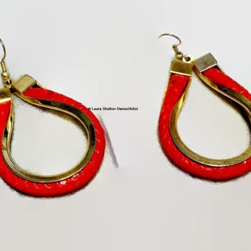 Unique Red Snakeskin Design Earrings, Inlaid Leather, Large Hoop Earrings, Pierced, Statement Jewelry