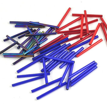 Bugle Beads Loose - Tube - Barrel - Assorted Colours - 30mm - Jewellery and Craft Supplies - 25 pcs - DeeDeeSupplies