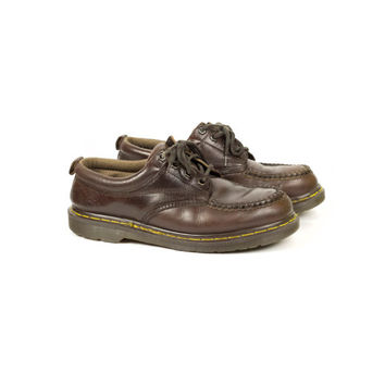 8 uk | 90s DR MARTENS brown leather moc toe oxford shoes / Made in England / vintage 1990s docs / moccasins / oxford / womens 10 / mens 9