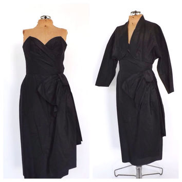 Vintage MILGRIM 1950s 60s Designer Strapless Dress Midi Gown Black Taffeta Structured Wiggle Dress Bombshell Cocktail Gown Couture