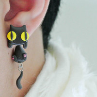 Cute Black Cat Clinging Handmade Polymer Clay Earrings, Light Weight, Cat Face, Cat Post, Kitty, Handmade, unique, ideal gift