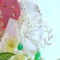 Silver vine branch mint green chrysoprase dangle earrings