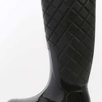 Quilted Jelly Rain Boots | MakeMeChic.com