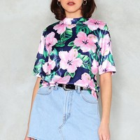 Mind Your Own Hibiscus High Neck Blouse
