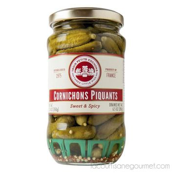 Three Little Pigs - Cornichons Piquants Sweet & Spicy Baby Gherkins 12.4 Oz.