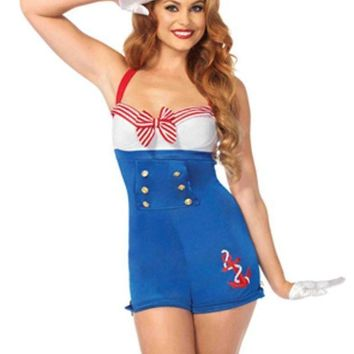 2pc.high Seas Honey Romper W/woven Anchor And Sailor Hat In Blue/white