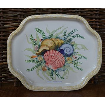 Vintage English Tole Tray Toleware  Hand Painted Seashells Shells