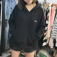 """""""Balenciaga"""" Women Simple Casual Solid Color Letter Embroidery Thickened Loose Hooded Long Sleeve Pullover Sweater Tops"""