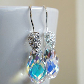 Swarovski Crystal AB Teardrop Briolette Sterling Silver Dangle Earrings - Bella E8 Bridesmaid Jewelry Wedding Jewelry