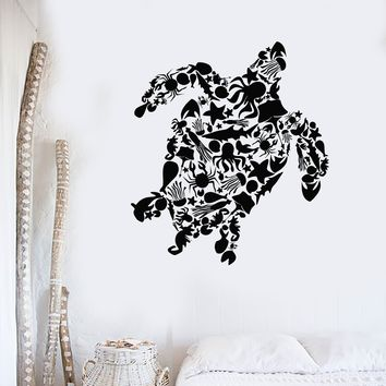 Vinyl Wall Decal Turtle Octopus Fish Marine Animals Bathroom Stickers Unique Gift (ig2997)