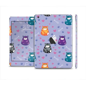 The Light Purple Fat Cats Full Body Skin Set for the Apple iPad Mini 2