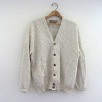 Vintage oatmeal Button Up Preppy Oversized Sweater Cardigan // men's size M