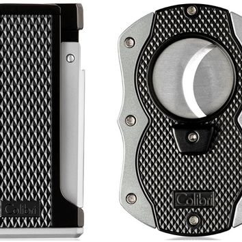 Colibri Monza Silver Lighter and Cigar Cutter Gift Set