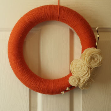 Pumpkin Door Wreath, Orange Yarn Wreath with Creme Felt Flowers, Pumpkin colored Door Hanging