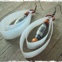 Eco friendly Jewelry - Eco friendly earrings - Earthy Earrings - Upcycled, Recycled, Repurposed - Paper Bead Earrings