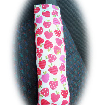 seatbelt pads cute Strawberry Suprise pink red print covers pads cotton car strawberries apples 1 pair girly girl cute pretty