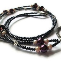 Ruby Crystals Pink Freshwater Pearls Purple Flowers Lanyard