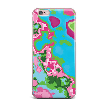 """Empire Ruhl """"Spring Agate Abstract"""" Teal Pink iPhone Case"""