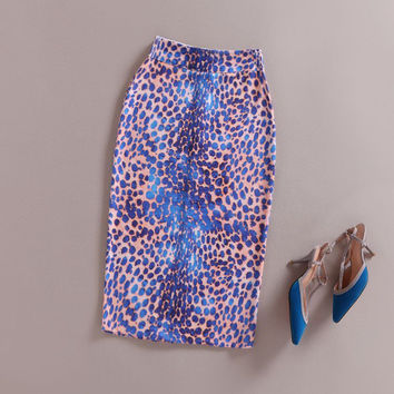Summer Faldas Womens Pencil Stretch Skirts Sexy Bodycon Office Vintage Leopard/Scale Print High Waist Bodycon Tube Midi Skirt