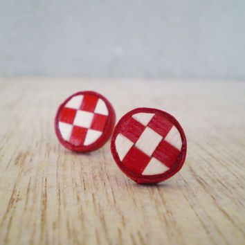 Post Earrings Checkered Red White Paper Studs Minimal Geometric Eco Friendly Jewelry Christmas Gift / Σκουλαρίκια από χαρτί