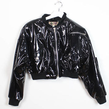 Vintage 1990s Bomber Jacket Black Shiny Wet Look Raver Patent PVC Metal Zipper Crop Slouchy 90s Club Kid Vinyl Rave Jacket M Medium L Large