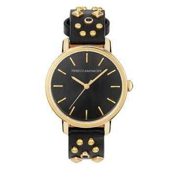 BFFL Gold Tone Multi Studded Leather Watch, 36MM