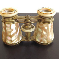 Vintage Antique Opera Glasses Binoculars Marchand Paris French Signed Mother of Pearl Abalone