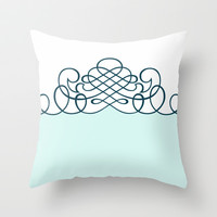 Light Mint Green Swirl on White Print Throw Pillow by Bees Pretty Prints