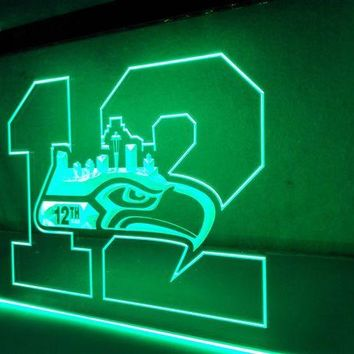 VONE05O LR062 Seattle Seahawks 12th Man LED Neon Sign