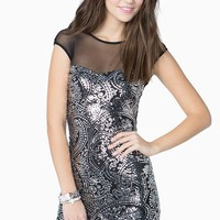 Patterned Sequin Sweetheart Dress