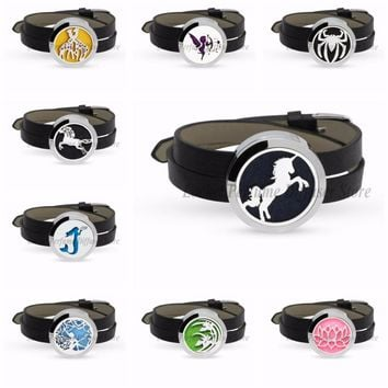 Unicorn Spider 30mm Stainless Steel Slide Aromatherapy Perfume Diffuser Locket Bracelet Bangle PU Leather Wristband 10pcs Pads