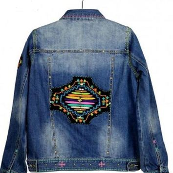 Delila Hand Embroidered Aztec Denim Jacket by Montana West  JJK-605