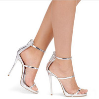 2016 Sexy Women High Heels Wedding Pumps Shoes Women Metallic Strappy Summer Sandals Nude Silver God Platform Gladiator Pumps