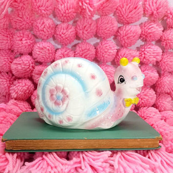 Snail Planter Ceramic Pastel Vintage Kitsch Nursery Room Decor Pink Blue Yellow Flower Pot Animal Figurine Container Made in Japan