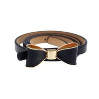 PU Leather Skinny Bow Waist Belt