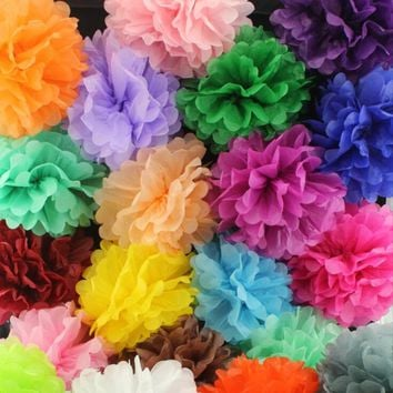 5pcs/Pack 15cm,20cm,25cm Lavender/Purple Tissue Paper Pom Poms For Baby Birthday Party Wedding Party Decoration Colorful
